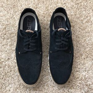 Cole Haan Black Suede Brogues with Zerogrand Sole
